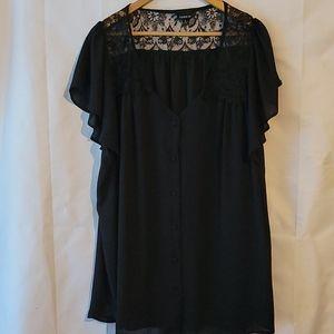Torrid black short sleeve shirt lace shoulders